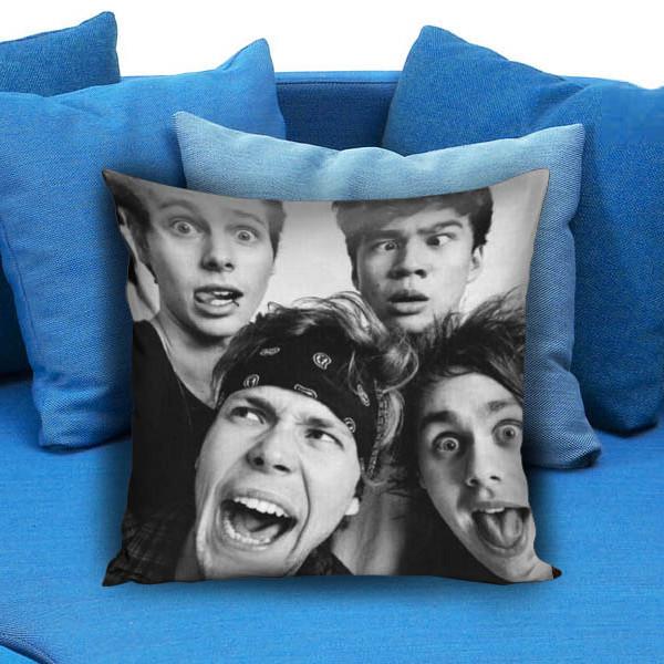5 sos funny smile Pillow Case