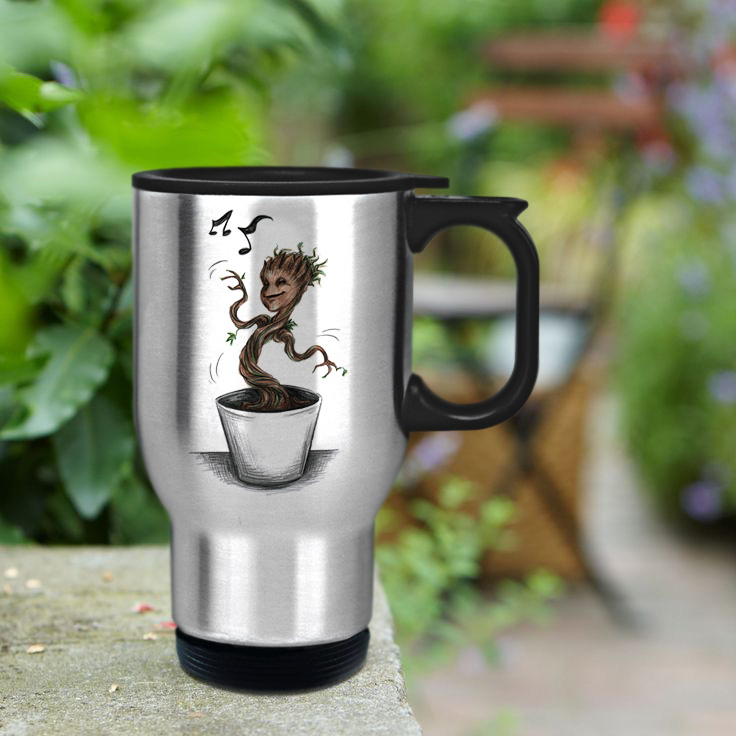 baby groot stainless steel travel mug
