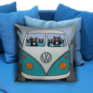 cute cat drive volkswagen Pillow Case