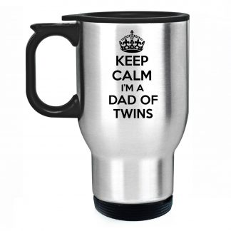 Keep Calm I am A Dad Of Twins Travel Mug Silver Stainless Steel