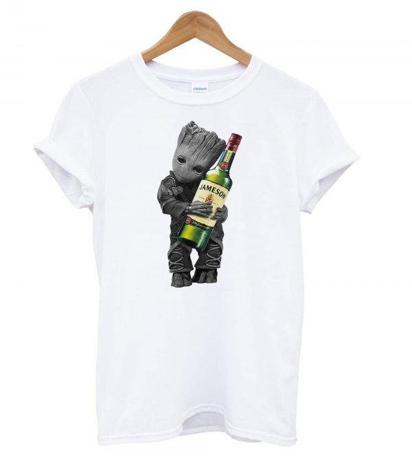 Baby groot hug Jameson wine T-shirt SU