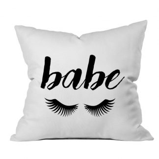Babe Pillow Case Babe Eyelashes Babe Throw Pillow Cute Toss Pillow Black White Pillow Monochrome Decor Bedroom