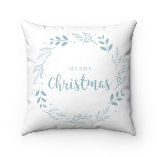 Blue and White Merry Christmas with Holly Wreath Cabin Holiday Winter Minimalist Spun Polyester Square Pillow Case