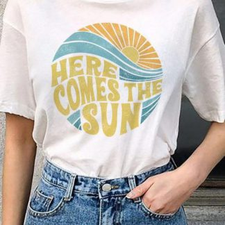 Here comes the sun vintage inspired beach graphic t-shirt