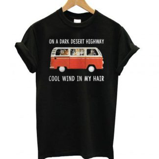 Hippie car and cat on a dark desert highway T shirt