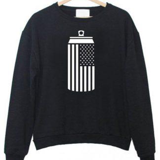 American Flag Beer Can Drinking Sweatshirt AY