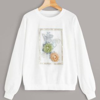 Appliquae & Sequin Detail Sweatshirt AY