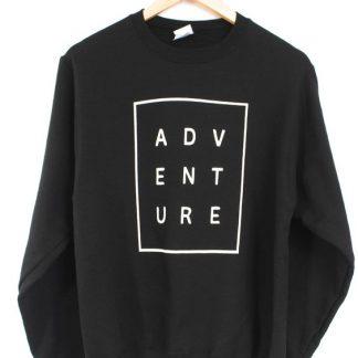 ADVENTURE Black Graphic Crewneck Sweatshirt ay